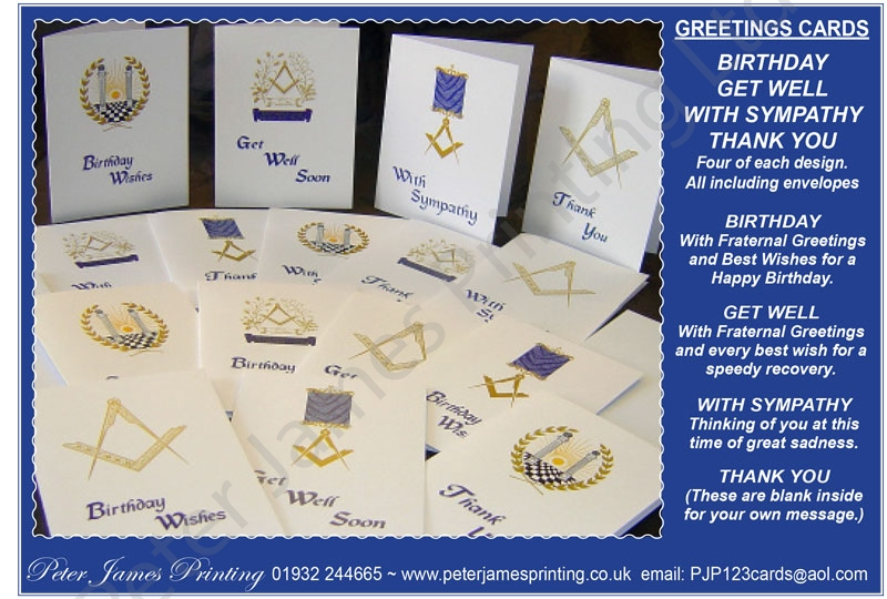 Masonic greeting cards by peter james printing ltd birthdayget wellsympathy a5 m4hsunfo