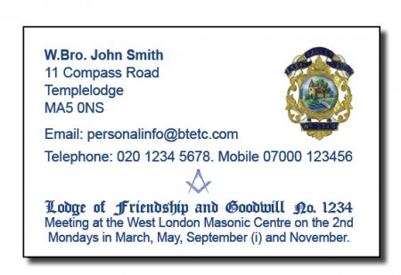 Masonic Meeting-Business Card